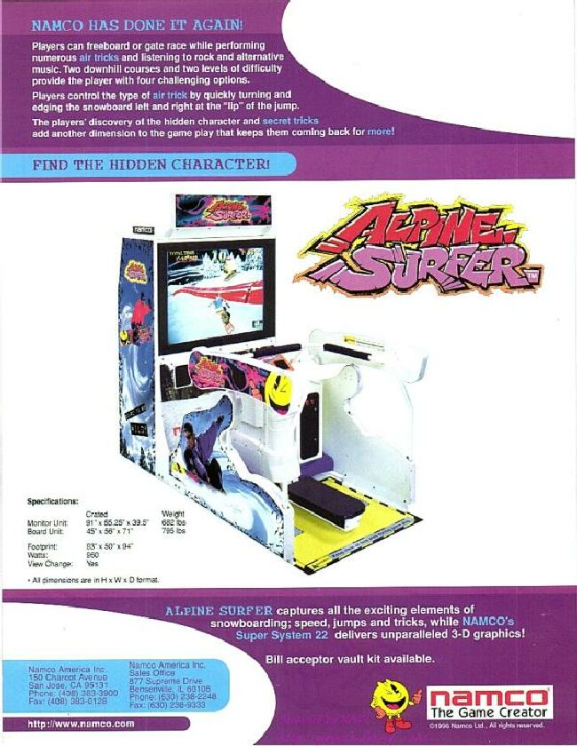 Arcade Gaming Arcade, Jukeboxes & Pinball Friendly 1996 Namco Alpine Surfer Video Flyer Mint Special Summer Sale
