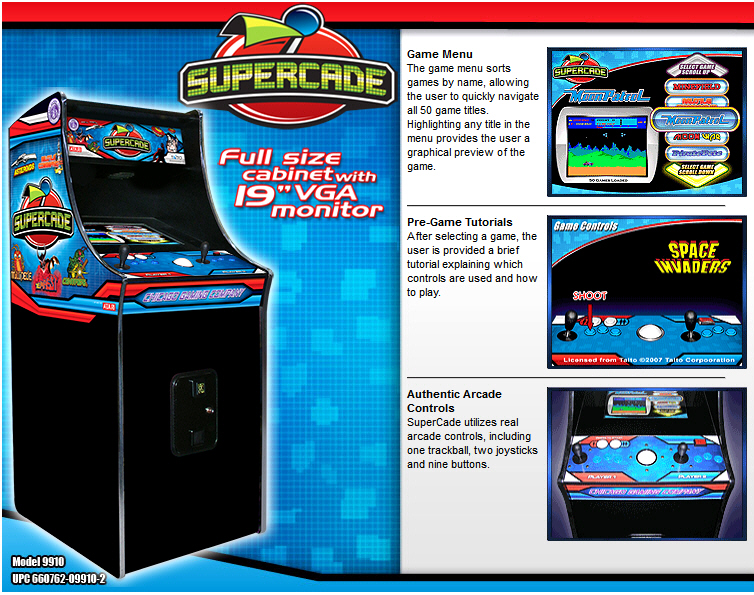 Chicago Gaming Supercade - Classic 1980s Video Arcade Machine Brochure