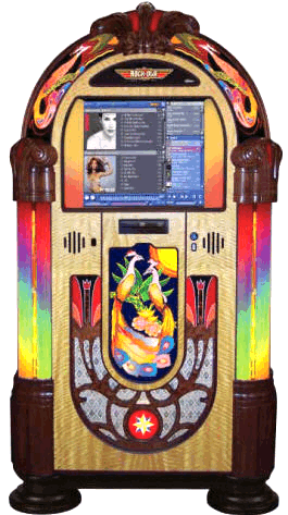 Rock-Ola Peacock Nostalgic Music Center Jukebox | Model QB6PB-PV4
