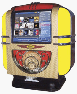 Rock-Ola Q Music Center Compact Countertop Touchscreen Jukebox |  Model J-70254-A