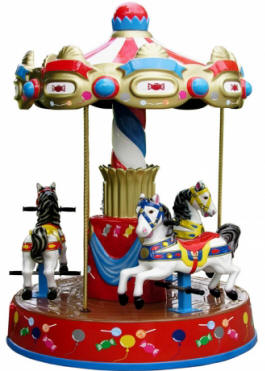 3 Horses Carousel Kiddie Merry Go Round Ride WHC130 From Zamperla Asia Pacific / ZAP Kiddy Ride