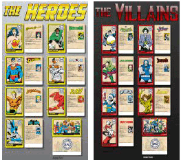DC Superheroes Card / Token Redemption Game Heroes and Villian Card Sets