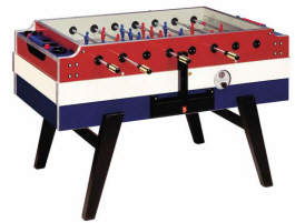 Coperto Red, White & Blue Coin Operated Foosball Table From Garlando Foosball