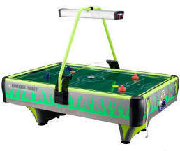 Green Football Frenzy Double Wide Air Hockey Table - Coin Operated