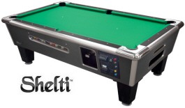 Shelti Bayside Charcoal Matrix Dollar Bill Acceptor / DBA + Coin-Operated Pool Table
