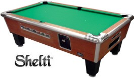 Shelti Bayside Sovereign Cherry Coin-Operated Pool Table