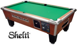 Shelti Bayside Sovereign Cherry Dollar Bill Acceptor / DBA + Coin-Operated Pool Table