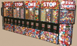 Fun Shoppe Long Wall Kiosk Bulk Vending Center From OK Manufacturing