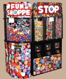 Fun Shoppe Short Wall Kiosk Bulk Vending Center From OK Manufacturing