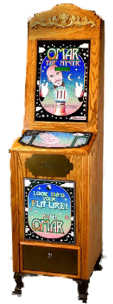 Omar The Mystic Fortune Teller - Oak Wood Vending Machine From Impulse Industries