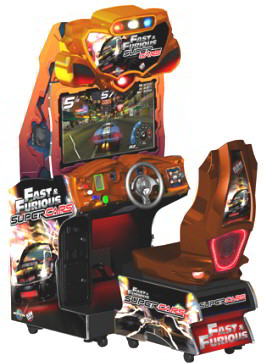 """The Fast & The Furious Super Cars  32"""" Model Video Arcade Racing Game From Raw Thrills"""
