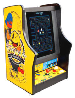 Pacman / Galaga / Ms. Pac Man 25th Anniversary Tabletop / Desktop / Countertop Video Arcade Game - Dollar Bill Model From Namco Bandai America