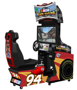 "NASCAR Team Racing 32"" Deluxe Model Video Arcade Driving Game From Global VR"