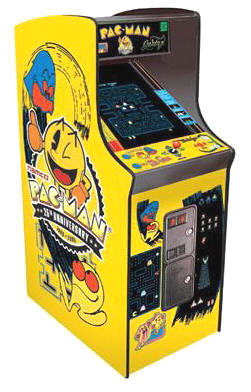 "Pacman / Galaga / Ms. Pac Man 25th Anniversary Limited Edition Video Arcade Game - 19""  Caberet Upright Home Edition / Non-Coin Free Play Model From Namco"