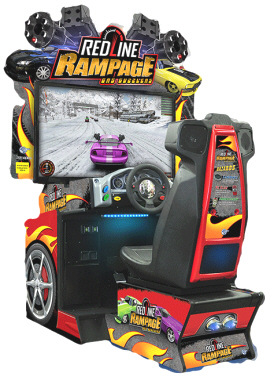 RedLine Rampage Gas Guzzlers Video Arcade Racing / Shooting Game From Global VR