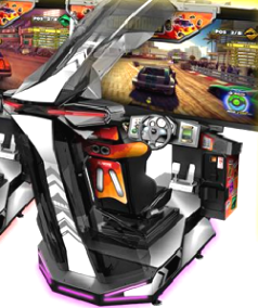 Sega Showdown Special Attraction Video Arcade Motion Simulator Racing Game | Close Up
