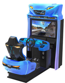 Storm Racer Motion DLX Racing Simulation Video Arcade Game From Wahlap and Sega