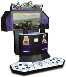 "Top Gunner Deluxe 55"" Motion Platform Air War / Gun Shooting Video Arcade Game From Injoy Motion"