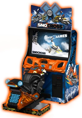 "Winter X-Games SnoCross Arcade 42"" Motion Platform Model - Snowmobile Racing Video Arcade Game From Raw Thrills"