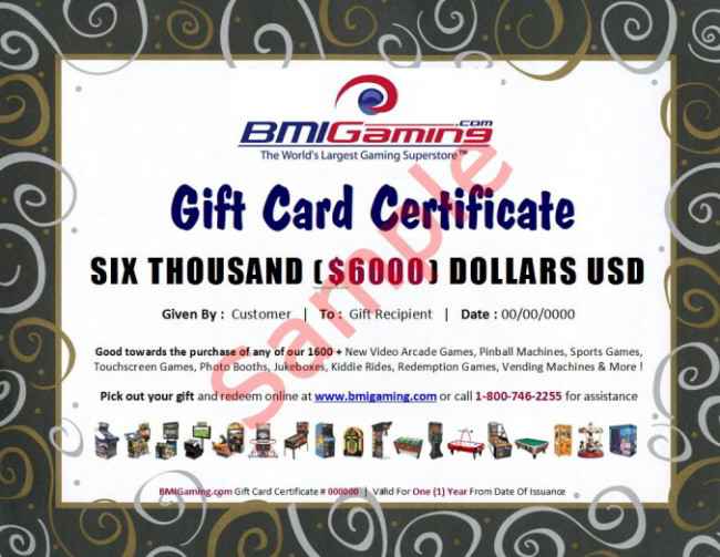 BMI Gaming Gift Certificates