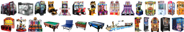 arcade machines, amusement devices, sports games, motion simulators and vending machines for sale