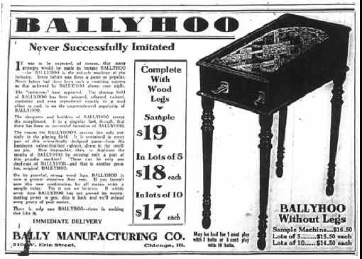Ballyhoo Pinball Machine Sales Flyer / Advertisement From Bally Manufacturing Co.