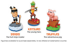 Fruit Ninja FX2 Sensei, Katsuro and Truffle Figurines Characters
