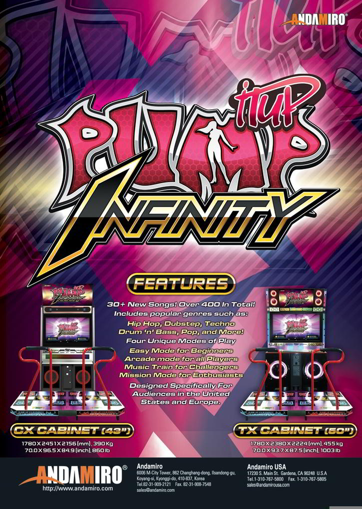 Pump It Up Infinity 2013 Video Arcade Dance Machine Brochure Page 1 - Andamiro