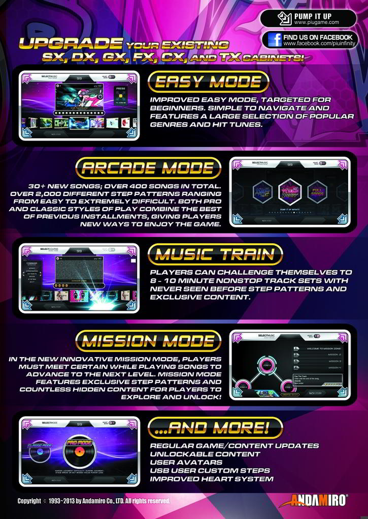 Pump It Up Infinity 2013 Video Arcade Dance Machine Brochure Page 2 - Andamiro