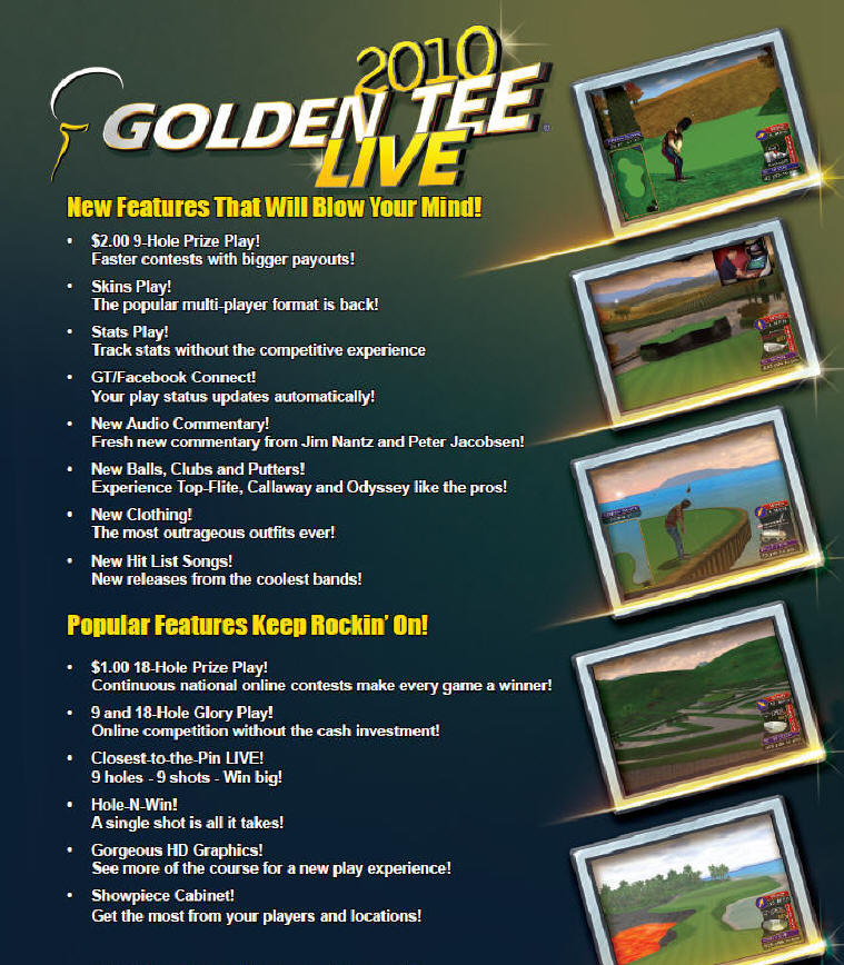 Golden Tee Live 2010 Brochure - Page 1 - From Incredible Technologies