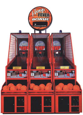 Hoop Fever Three Player FEC Model With Jackpot Marquee Coin Operated Basketball Arcade Game Center By Innovative Concepts In Entertainment / ICE Games