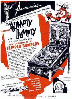 Humpty Dumpty Pinball Machine Sales Flyer From D. Gottlieb