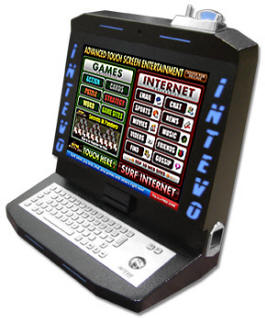 INTEVO Countertop Touchscreen Internet Terminal and Video Game Machine By VirtuaPlay From BMI Gaming: 1-800-746-2255