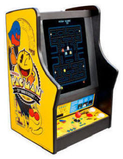 Pacman / Galaga / Ms. Pac Man 25th Anniversary Tabletop / Desktop / Countertop Video Arcade Game - Non-Coin Free Play Model From Namco Bandai America