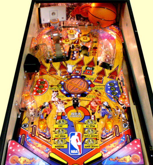 NBA Pinball Machine Playfield From Stern Pinball - Playfield Closeup Picture
