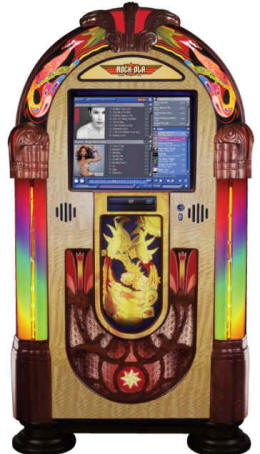 Peacock Music Center Touchscreen Digital Jukebox Model J-70266-A-PV3 By Rock Ola Jukeboxes
