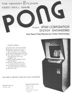 PONG Video Arcade Game Brochure Flyer - 1972 Atari / Syzygy