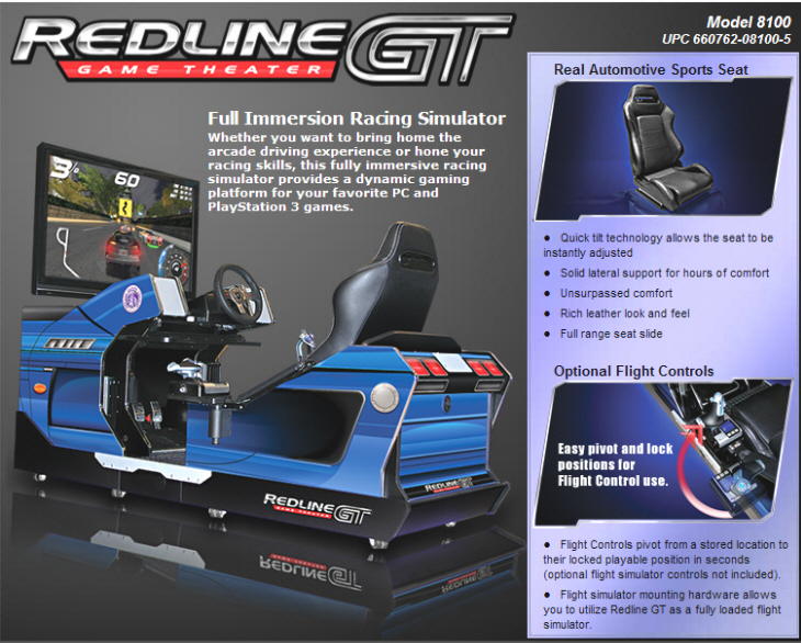 Redline GT Game Theater Full Immersion Racing Simulator Model 8100 From Chicago Gaming Company