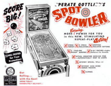 Spot Bowler Pinball Machine From D. Gottlieb