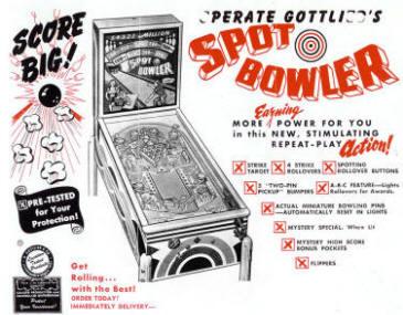 Spot Bowler Pinball Machine From D. Gottlieb
