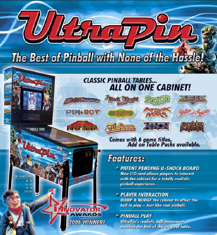 UltraPin Digital Video Pinball Machine From Global VR and Ultracade