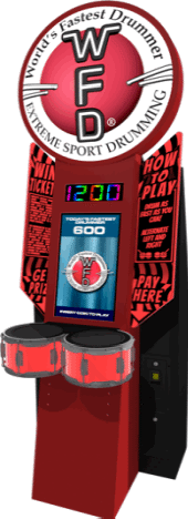 WORLD'S FASTEST DRUMMER ARCADE BY WFD - UNIT-E - 2017 BOSA SILVER MEDAL WINNER - VIDEO ARCADE GAMES - BEST OF SHOW ARCADE AWARDS